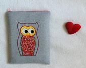 "10 inch Tablet Case with owl applique and Zip closure, Cover for 10"" Tablet"