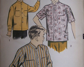 Vintage 1950's Advance Pattern Boy's Mandarin  Shirt Complete and Uncut with Mandarin Collar Size 6 # 8306