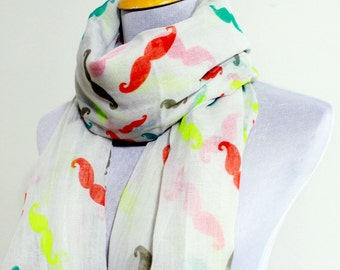 White Mustache Scarf, Colorful Beard Scarf, Autumn Scarf, Chunky Scarf, Fall Scarf, Fashion Scarf, Christmas Gift, For Her, Baby Shower, Boy