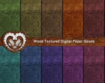 Wood Digital Scrapbooking Paper Goods - A4 digital download paper pack