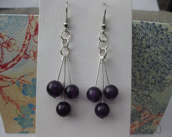 Amethyst Stainless Steel Earrings