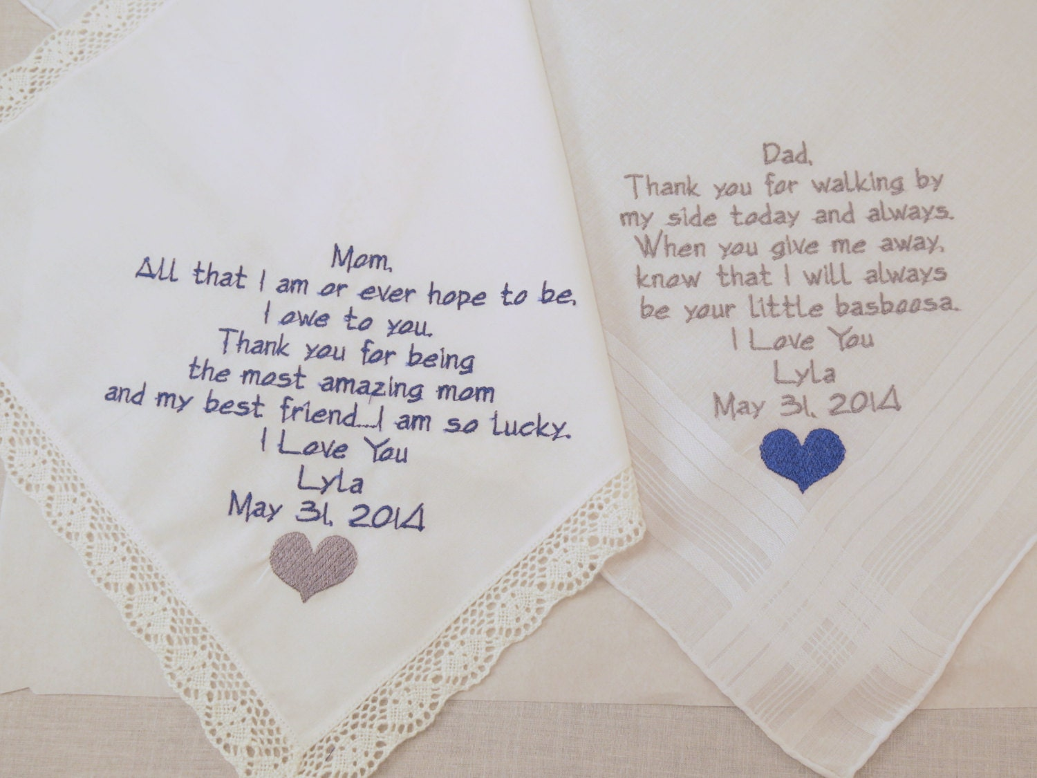 Wedding Handkerchiefs For The Family: Mom And Dad Embroidered Wedding Handkerchiefs By
