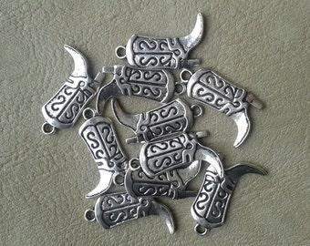 10 Tibetan Silver Cowboy Boots Pendants
