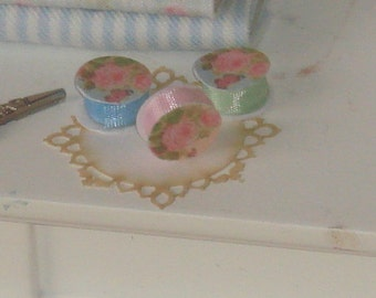Dollhouse three ribbon spools. 1:12 dollhouse miniature sewing.