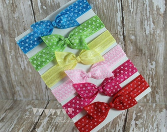 6 No Tug Elastic Hair Ties - Polka Dot Hair Tie Set - Polka Dot Rainbow Hair Ties
