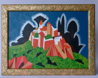 Fairytale Castle, original painting, acrylic, oil, canvas panel