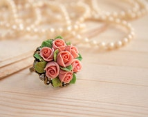 Dust pink rose ring, polymer clay rose, cocktail ring