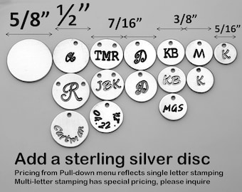 Add sterling silver initial disc letter charm