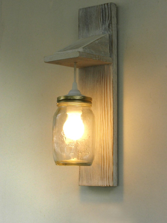 Reclaimed wood sconce wall lamp Mason Jar lighting