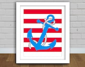 Anchor Print - Anchor Art - Nautical Print - Nautical Kids Room - Pirate Room - Etsykids Team