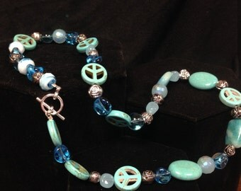 Medium length Blue and Turquoise Necklace.