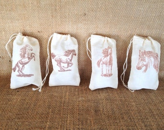 Horse Favor Bag Western Muslin Bag Rustic Country Wedding or Baby Shower Set of 12