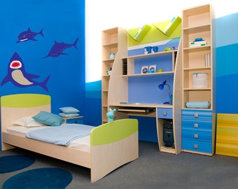 Swimming sharks vinyl wall decal perfect for boys room