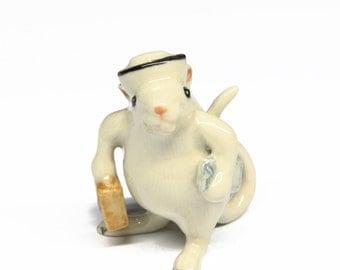 Animals Ceramic Nurse Rat or Mouse Figurine Hand painted