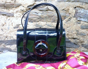 sixties french black PVC handbag