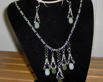 Necklace and Earrings Handcrafted with Jade & Silver Elegant Wear, Silver Plated Chain and Earrings Green Shaded Jade