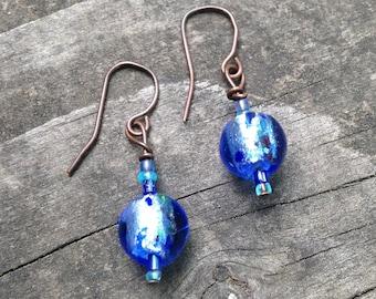 Blue Glass Foil Earrings