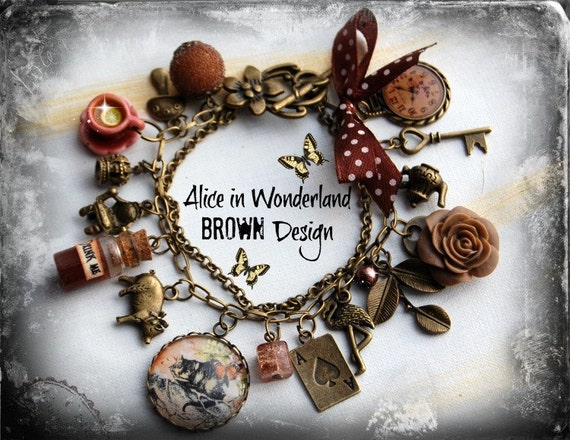 cabochon alice in wonderland jewelry bracelet vintage brown. Black Bedroom Furniture Sets. Home Design Ideas