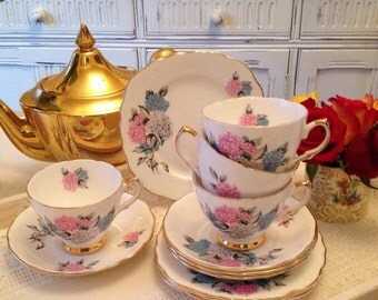 Hydrangea Teacup and Saucer. Vintage C1950s. Tea cup and Saucer.