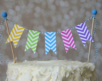 Neon Chevron Rainbow Birthday Cake Bunting Pennant Flag Cake Topper-MANY Colors to Choose From!  Birthday, Shower Cake Topper