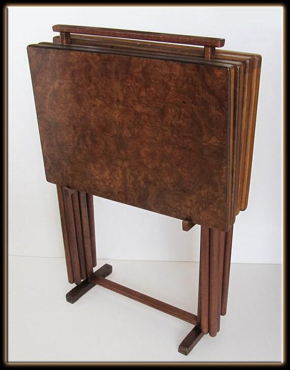 60s Mid Century Modern Set Of 4 Burl Wood Tv Tray Set W