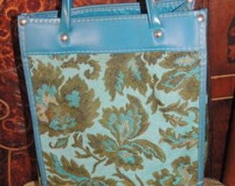 P0000016 Vintage 70's Tapestry Turquoise and Green Floral Tote Bags Of Yester Years -by God Oddities Decor on Etsy