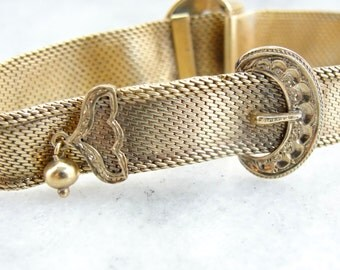 Exceptional Mesh Golden Victorian Buckle Bracelet 5978Y6-P