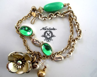Repurposed /Upcycled Vintage Mixed Gold and Silver Tone Bracelet, Assemblage Bracelet - Flower Charm, Green Beads.