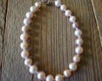 Vintage Light Pink Freshwater Pearls Beaded Bracelet Silver Plated Lobster Clasps