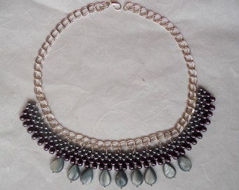 bead woven jewellery collar necklaces grey  nacre necklace