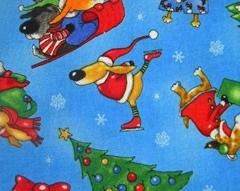 Christmas Joy--dog fabric--by the yard--Elizabeth's Studio