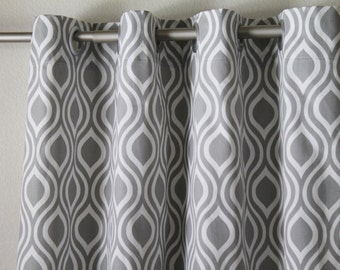 Curtains Ideas black and white patterned curtains : Gray white curtains | Etsy