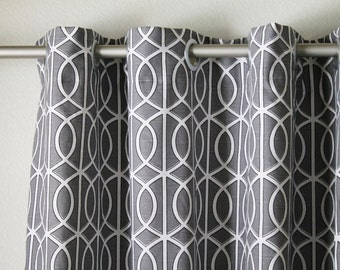 """Pair of 50"""" wide Dwell Studio Bella Porte charcoal grey and white gate trellis rod panels, drapes, curtains  50x63"""" 50x84"""" 50x96"""" 50x108"""""""