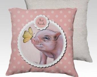 Mini pig cushion cover, micro pig pillow, teacup pig , nursery decor, pocket pig cushion, kids pillow, children cushion, pig gift, nursery