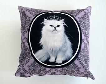 Cat  pillow, cat decorative pillow, cat cushion, cat lover gift, white cat cushion, cat art, cat decor, throw pillow, home accent cushion