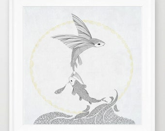 Deer and little girl nursery art print of orginal drawing for Flying fish drawing