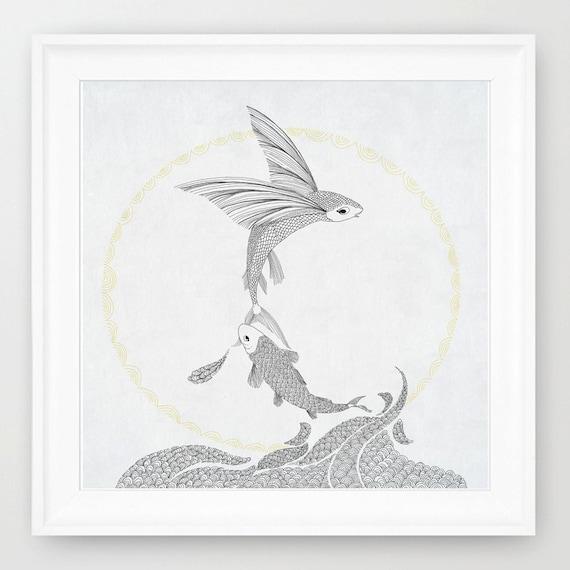 Line Art Prints : Flying fish line art print of orginal drawing