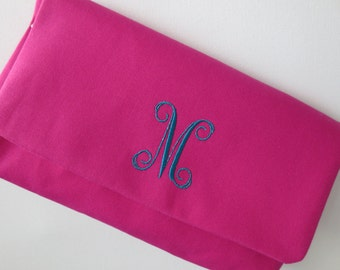 Hot pink clutch purse with lovely monogram script print