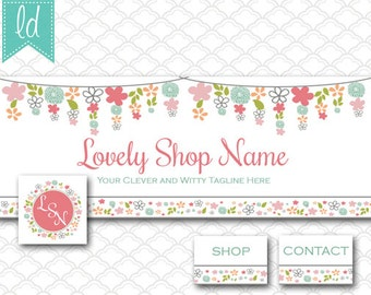 Facebook Cover Photo Set Facebook Timeline - Cover Photo, Profile Picture, and Two Tab Icons Flowers Bunting Premade - Social Media