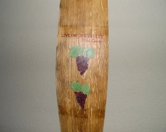 Livermore Valley Wine Country Hand Painted Barrel Stave with Grapes, Home Decor, Wine Lover