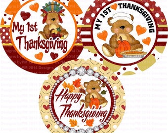 1st Thanksgiving Bottle Cap Images 4x6 Bottlecap Collage Scrapbooking Jewelry Hairbow Center