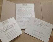 Vintage Pocketfold Wedding Invitation Suite // Rustic and Vintage // Simple and Elegant Invite // Sample Set