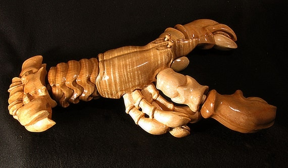 Handmade curly maple carved maine lobster toy sculpture