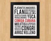 Cuban Food Poster Art - (PDF File ONLY) - 8x10