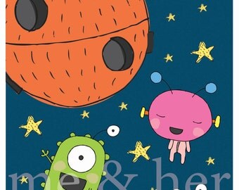 Alien fun. Pen and ink illustration. Children's art print