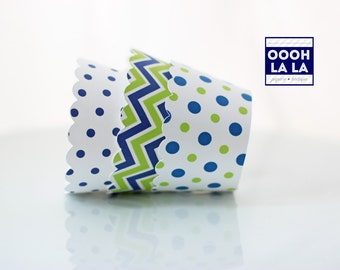 MADE TO ORDER Navy Blue and Lime Green Cupcake Wrappers- Set of 12