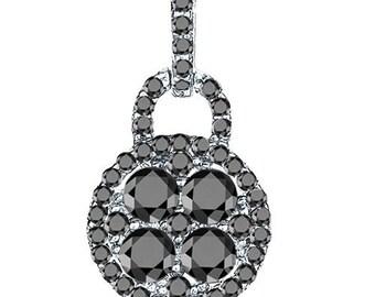 Sterling Silver Unique Fashion Pendant with Black & White Cubic Zirconia