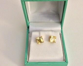 Canary yellow asscher cut stud earrings