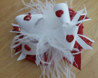 Handmade Valentine Red & White Boutique Hair bow With Feathers