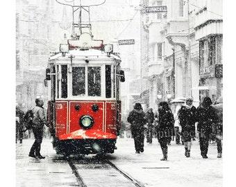 Tram photography - Wall decor - istanbul photography, winter, snow photograph, istanbul photo, red tram, Art Print, 10x15, holidays